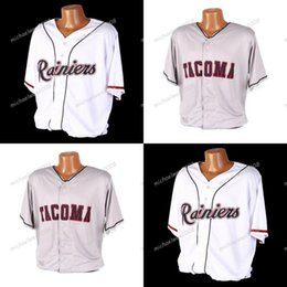 Wholesale high quality custom shirts online – design Mens Tacoma Rainiers White Grey Custom Double Stitched Shirts Baseball Jerseys High quality