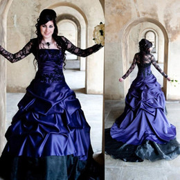 92adcaa1deb Vintage Victorian Gothic Ball Gown Wedding Dresses Sheer Long Sleeves Sexy  Purple and Black Ruched Retro Corset Lace Bridal Gowns Plus Size