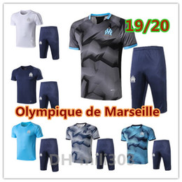 BreathaBle man pants online shopping - 2019 Olympique de Marseille Short sleeve shirt survetement Marseille BALOTELLI PAYET Maillot De Foot pants soccer training suit