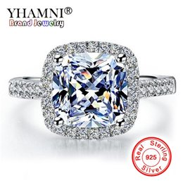 Sona ringS online shopping - YHAMNI Real Sterling Silver Rings Engagement Inlay Ct SONA Simulation CZ Wedding Rings For Women GR001