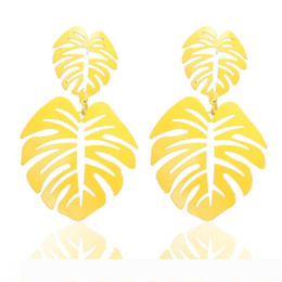 coconut earrings UK - 2020 Exaggerated Bohemia Colorful Metal Hollow Double Leaves Coconut Palm Leaf Big Beach Earrings For Women Girl Large Earrings best