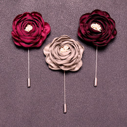 $enCountryForm.capitalKeyWord Australia - HOT Handmade Flower Brooch Pin Badge Fabric Camellia Flower Lapel X Accessories For Shirt Collar