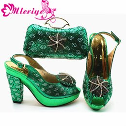 Green Women Shoes Ribbon Lace Australia - 2019 Green Color Latest Style African Wedding Shoes And Bag Set New Italian Low Heels Shoe And Matching Bag Set For Party Dress
