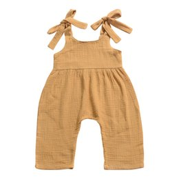 China Newest Baby Girls Overalls Pants Kids Girls Rompers Pants Gray Solid Toddler Outfits Sleeveless Belt Baby Girls Boys Bib Pants Overalls cheap pearl fly suppliers