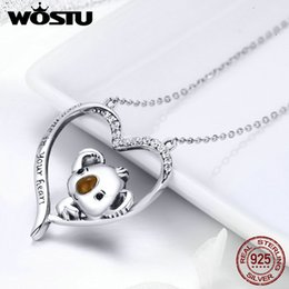 lovely gifts for girlfriend Australia - WOSTU High Quality 925 Sterling Silver Cute koala Pendant Necklace For Women Girl Lovely Jewelry Gift For Girlfriend FIN256