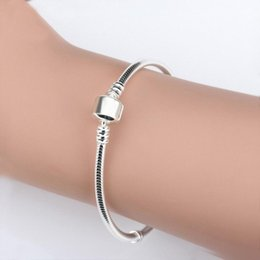 925 snake chain 3mm Canada - Wholesale 925 Sterling Silver Bracelets 3mm Snake Chain Fit Pandora Charm Bead Bangle Bracelet DIY Jewelry Gift For Men Women0dea#