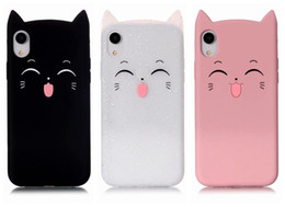 Discount cute soft cat cases - 3D Cat Smile Soft Silicone Case For iPhone XS MAX XR Iph X 8 7 Plus 6 SE 5 5S Cute Lovely Colorful Pink Black Cats Gel G