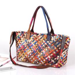 $enCountryForm.capitalKeyWord Australia - new fashion trend hand-woven handbag leather color shoulder bag ladies Messenger bag colorful Leather handbag
