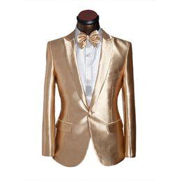 Discount designs coat pant piece - Latest Coat Pant Designs Gold Satin Men Suit Prom Jacket Slim Fit Tuxedo Custom Groom Stage Suits Blazer Masculino 2 Pie