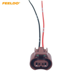 feeldo 2pcs car fog light plug for toyota honda mazda headlight lamp 9006  hb4 connector with wire cable adapter #5953