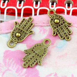 Hamsa earrings online shopping - 100pcs MM antique bronze fashion hamsa hand of fatima charms for bracelet vintage metal pendants earring handmade DIY jewelry making