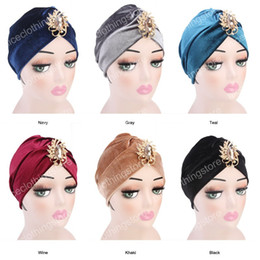 $enCountryForm.capitalKeyWord Australia - New fashion Women Turban stone brooch Velvet Turban Soft Hair Cover Headwear Hijab Beanie Hat Turbante Headband Hair Accessories