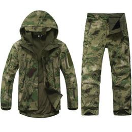 Shell Jacket Tad Australia - Tad Tactical Soft Shell Jacket Men Army Waterproof Camo Huntingclothes Suit Camouflage Shark Skin Military Jacket Coatspants