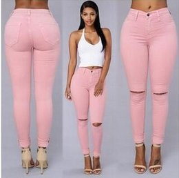 Velvet Foot Australia - Free shipping 03 stretch Slim knee hole cotton bomb pencil feet pants personality highlights body casual pants a variety of colors