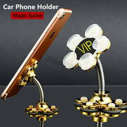 Wholesale 360 degree Sucker Stand Holder For Cell Phone Rotatable Metal Flower Double sided Magic Suction Cup Mobile Phone Holder Car Bracket Mount