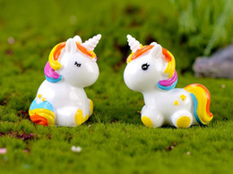 Wholesale 10Pcs Cute Rainbow Unicorn Home Decoration Accessories Modern Christmas Fairy Garden Pop Miniature Figurines Fairy House Living