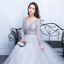 $enCountryForm.capitalKeyWord Australia - 2019 New Sexy Illusion Evening Gowns Lace Formal Real Photos Prom Dresses With Applique Beads Crew Neck 3 4 Sleeves Under 190