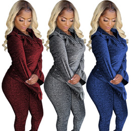 silver pant suits women NZ - Womens sportswear long sleeve hoodie outfits two piece set tracksuit jogger sport suit sweatshirt tights pant suit women clothes klw2531