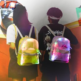 Fashionable school backpacks online shopping - Fashionable Men And Women Backpack Fluorescent Cool White Pink Tuba School Bag Fluorescent Practical Wear Resistant Sports Backpacks qxD1