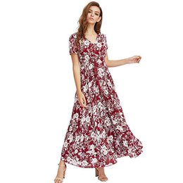 Discount white bohemian style maxi dresses - Ladies Summer Dress Women Maxi Sundress Button Up Split Floral Print Flowy Evening Party Female Long Dresses Vestidos Q1