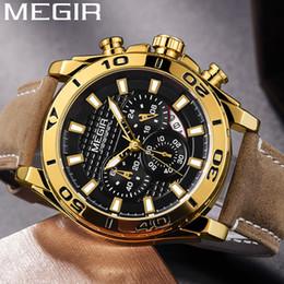 $enCountryForm.capitalKeyWord Australia - MEGIR Chronograph Mens Watches Top Leather Strap Quartz Men Male Watch Army Sport Date Clock Gift Box 2094