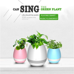 Pot Speaker Australia - Night-light Musica Speaker Smart Flower Pot Bluetooth Sound Box Support Play Piano Music Portable Loudspeaker Radio with USB
