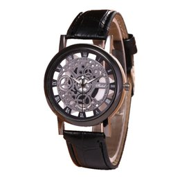 $enCountryForm.capitalKeyWord Australia - Fashion Skeleton Watch Men Engraving Hollow Reloj Hombre Dress Quartz Wrist Watch Leather Band Women Clock Relojes Mujer
