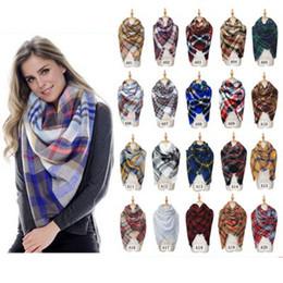 Wholesale 140*140cm Womens Plaid Blanket Scarf Large Checked Wrap Shawl Winter Warm Plaid Blanket Scarf Women Tartan Tassels Scarf ZZA941