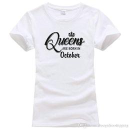 Опт Летние рукава с коротким рукавом O-образным вырезом, рожденные в октябре, хлопковые рубашки для женщин
