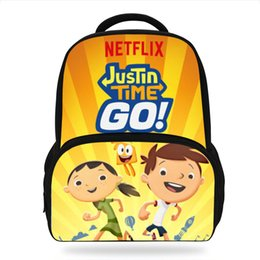 kids books characters Australia - 2019 Newest Cartoon Justin Time Go Children Backpacks For Teenage Girls School Bags Movie character Book bags For Kids Boys