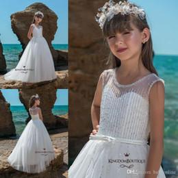 1d65f94580f 2019 White Flower Girl Dresses For Summer Beach Weddings Boho A Line Sheer  Crew Neck Beadings Belt Long Kids Formal Party Prom Pageant Gown