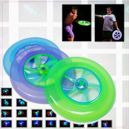 Saucer Toy Australia - Colorful Spin LED Light Outdoor Toy Children Beach Toys Flying Saucer Arrow Kid Toy UFO kid toys Flying Disk toys free shipping