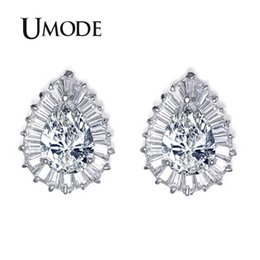 Pear shaPe earrings online shopping - UMODE Classical Pear shaped CZ Cubic Zirconia with Rectangle small CZ surrounded Tear Stud Earring UE0029