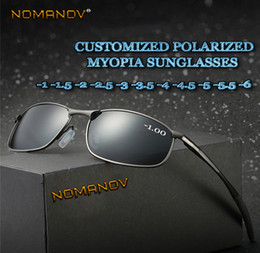 prescription sunglasses women NZ - Al-mg Alloy Shield Men Women Polarized Sun Glasses Polarized Sunglasses Custom Made Myopia Minus Prescription Lens -1 To -6