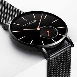 Men Thin Watches Sale Australia - Luxury Men Watch Creative Ultra-thin Black Steel Belt Watches Casual Sports Waterproof High-grade Quartz Wristwatches Sale
