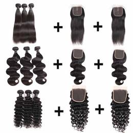 $enCountryForm.capitalKeyWord Australia - Malaysian Hair Bundles With 2PCS Closure Brazilian 100% Human Hair Weaves Bundles With 4X4 Lace Closure 8- 26 Inches Human Hair Extensions