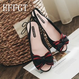 Wholesale EFFGT Bowknot Jelly Shoes Women Flat Sandals Open Toe Soft PVC Fashion Slingback Ladies Boat Shoes Summer Beach Sandals
