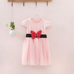ShipS lantern online shopping - Girls Dress Children Bowknot Lace Dress Summer Tutu Gauze Dress Colors p l