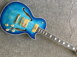 Mahogany Electric Guitar Bodies Australia - wholesale blueburst color JAZZ half Semi Hollow electric guitar mahogany body with F holes free shipping