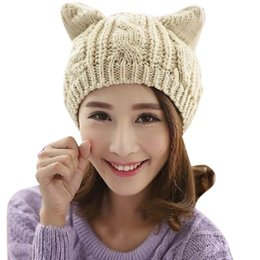 $enCountryForm.capitalKeyWord NZ - Casual Beanies Women Fashion Knitted Cat Ears Winter Hats Solid Color Cute Crochet Slouch Baggy Skullies Hat Bonnet Caps Gorro