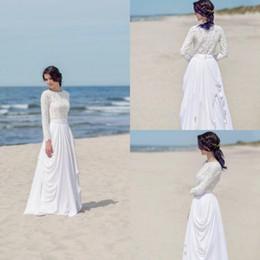 Discount traditional wedding dress straps - summer top lace beach wedding dresses non traditional o-neck long sleeves chiffon pleat flowy modest cheap bridal dress