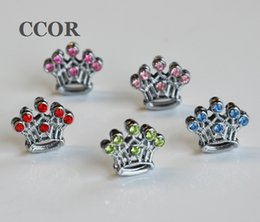 mix sliding charms Canada - 10pcs 8MM Mixed color Rhinestone Crown Slide Charms Fit 8mm Pet Collar Belts Bracelets Keychain Tags