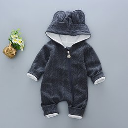 $enCountryForm.capitalKeyWord Australia - Baby Rompers Winter Cute Rabbit Hooded Long Sleeve Toddler Jumpsuits Baby Boy Girl Clothes Cotton Infant Newborn Warm MX190801