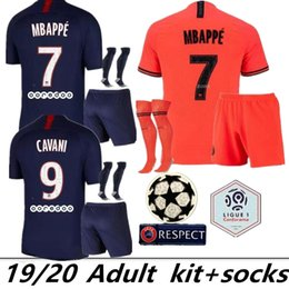 Wholesale 19 PSG maillots de foot MBAPPE adult kit socks soccer jersey CAVANI VERRATTI top thailand paris football shirt SILVA