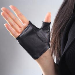 Short Black Gloves Australia - Genuine Leather Women Gloves Female Thin Style Semi-Fingers Fashion Black Sheepskin Mittens Short Design Fingerless Gloves TB07