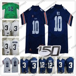 college football uniforms Canada - 2020 NCAA Tigers 10 Bo Nix Jersey 3 Joe Montana 12 Ian Book College Football 2019 CFB 150TH Navy Blue White Gift Uniform