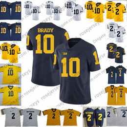 China NCAA Michigan Wolverines #10 Tom Brady Jersey Hot Sale #2 Charles Woodson Shea Patterson 2019 New College Football Navy Blue White Yellow supplier woodson jersey suppliers