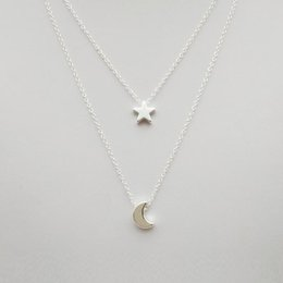 Necklaces Pendants Australia - Star Moon Double Clavicle Chain Necklaces For Women Personality Pendant Necklaces Sweater Chain Beach Long Necklace Female