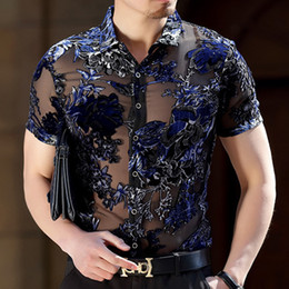 polyester short sleeve shirts Australia - Burn Out Velvet Transparent Floral Shirt Short Sleeve See Through Shirt Camisa Social Masculina Sexy Lace Shirt Chemise Homme