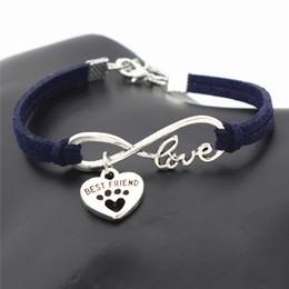 $enCountryForm.capitalKeyWord Australia - Fashion Handmade Infinity Love Pets Cats Dogs Paw Best Friend Heart Pendant Jewelry Navy Braided Leather Suede Rope Cuff Women Men Bracelets